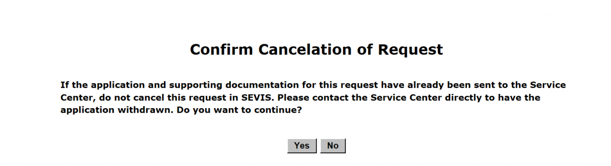 Confirm Cancellation of Request