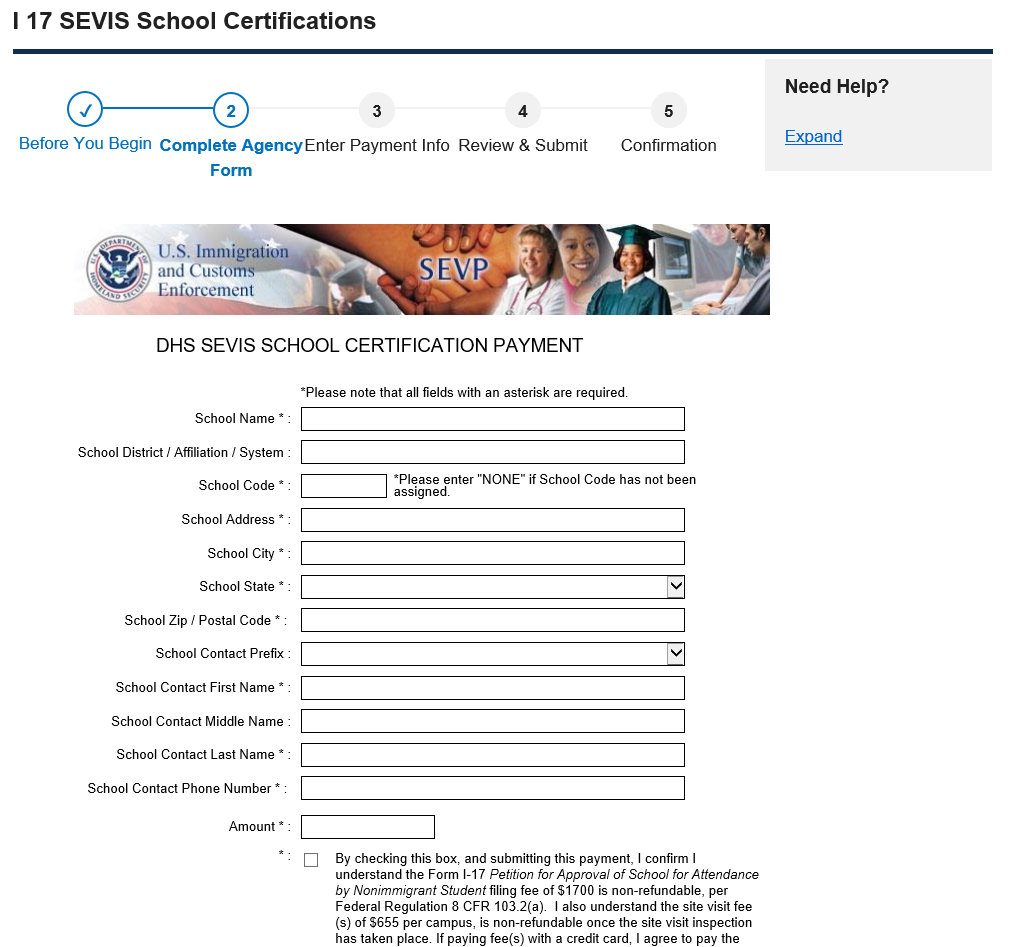 Complete Agency Form: DHS SEVIS School Certification Payment page