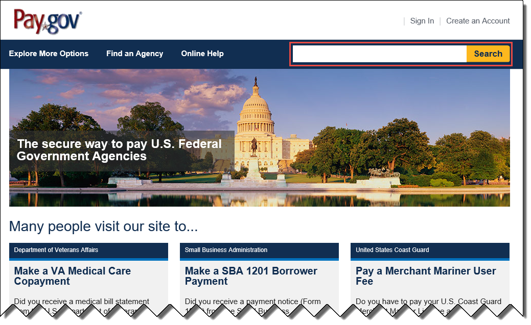 Pay.gov home page