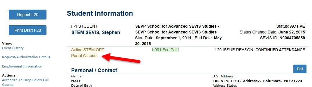 the Student Information page displaying an indicator that shows when a student has an active Portal account.