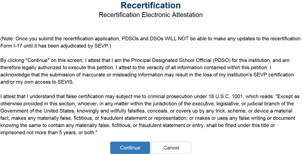 recertification page screenshot