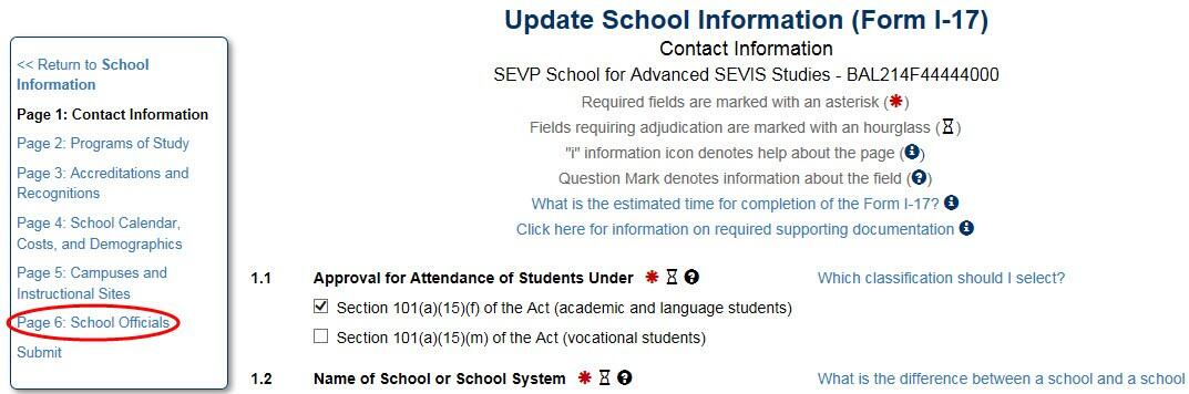 The Update School Information (Form I-17), Contact Information page with School Officials open