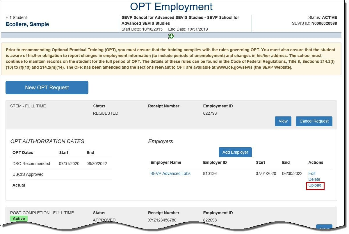 Screenshot of the OPT Employment page with a box around the Upload link.