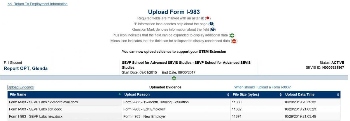 Screenshot of the Upload Form I-983 page showing a list of documents that have been uploaded
