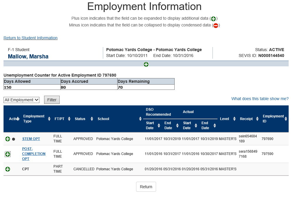 Employment Information page with Unemployment Counter for Active Employment ID XXX.